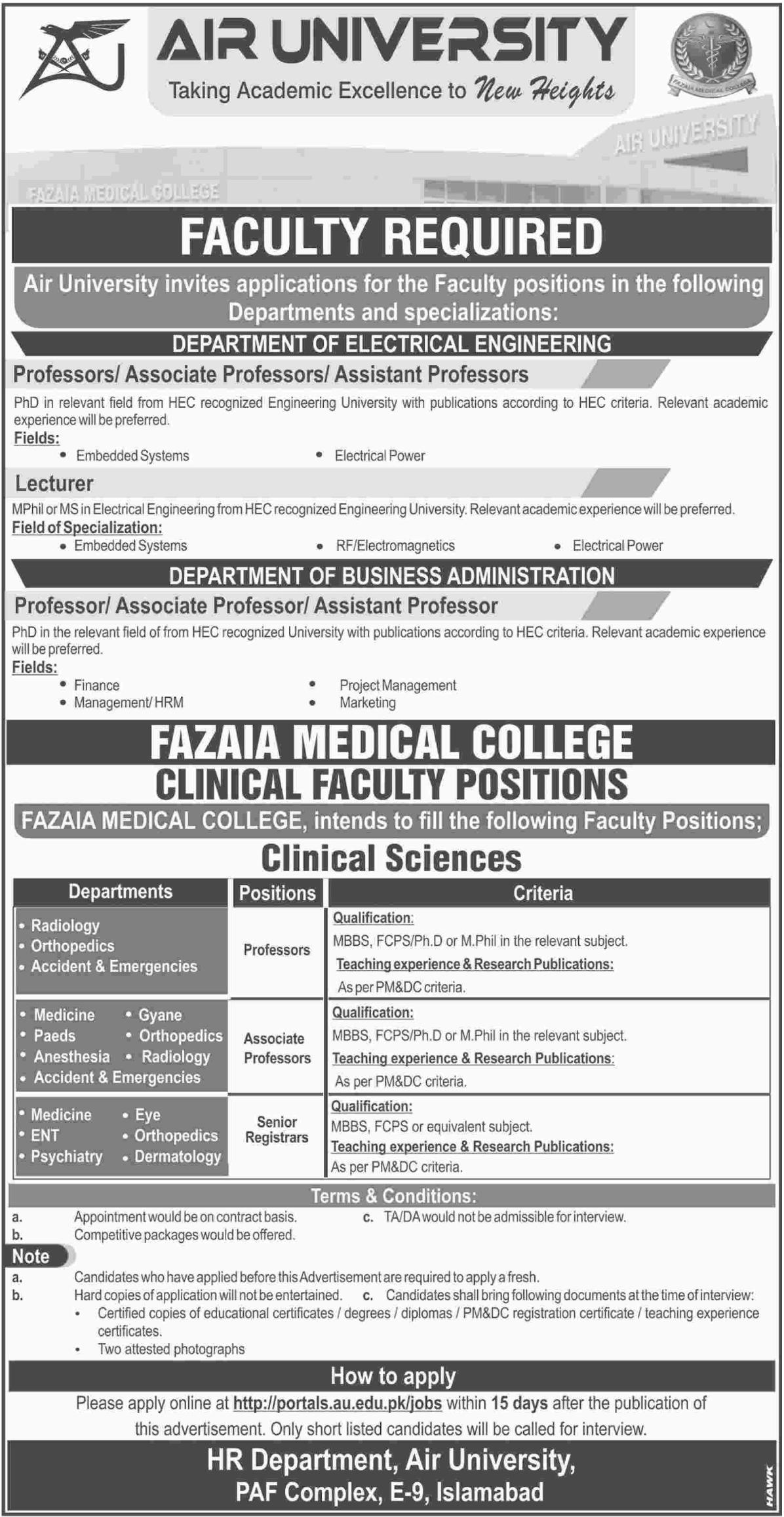 Air University Islamabad Jobs 2017