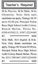 Male & Female Teachers Jobs Multan 2017