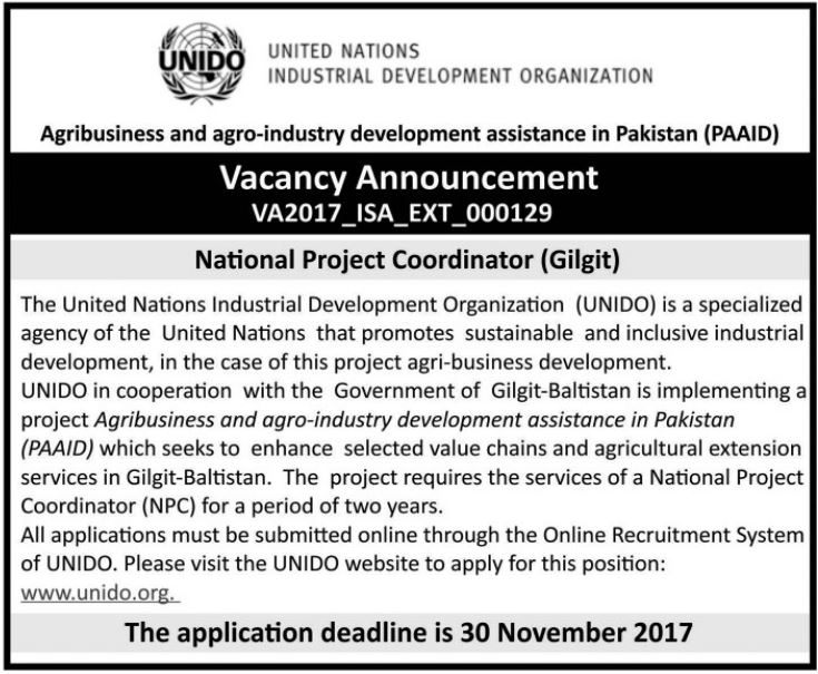 UNIDO Need National Project Coordinator In Gilgit