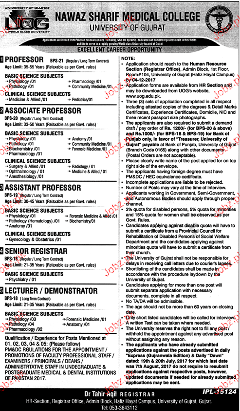 University of Gujrat UOG Teaching Jobs