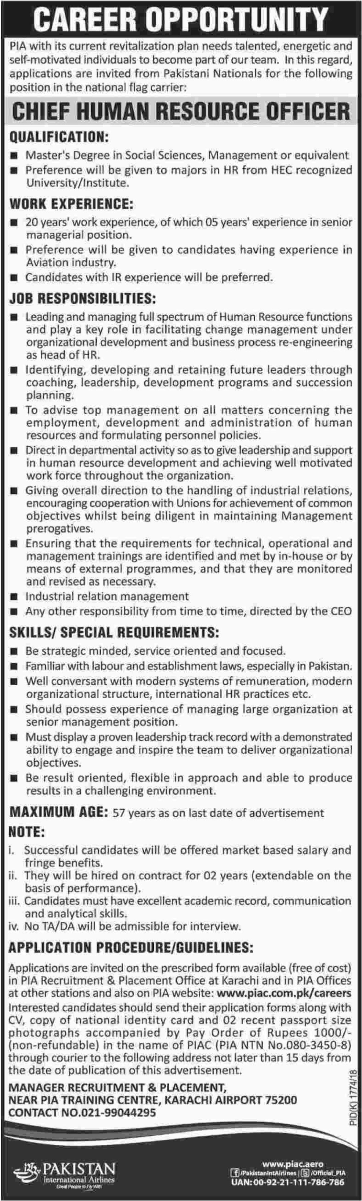 PIA Jobs Pakistan International Airlines Karachi