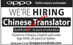 Chinese Translators Job Opportunity