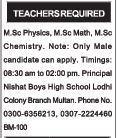 Male Teacher Jobs at Multan 2017