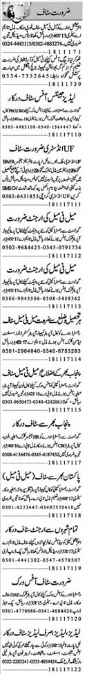 Ladies & Gents Staff Jobs at Lahore 2017