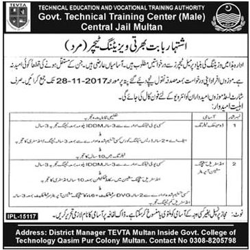 TEVTA Jobs Govt Technical Training Center Multan