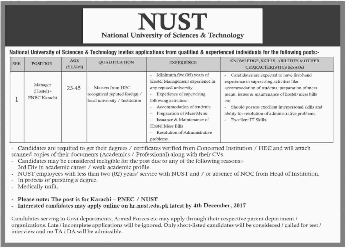 NUST National University of Sciences & Technology Jobs