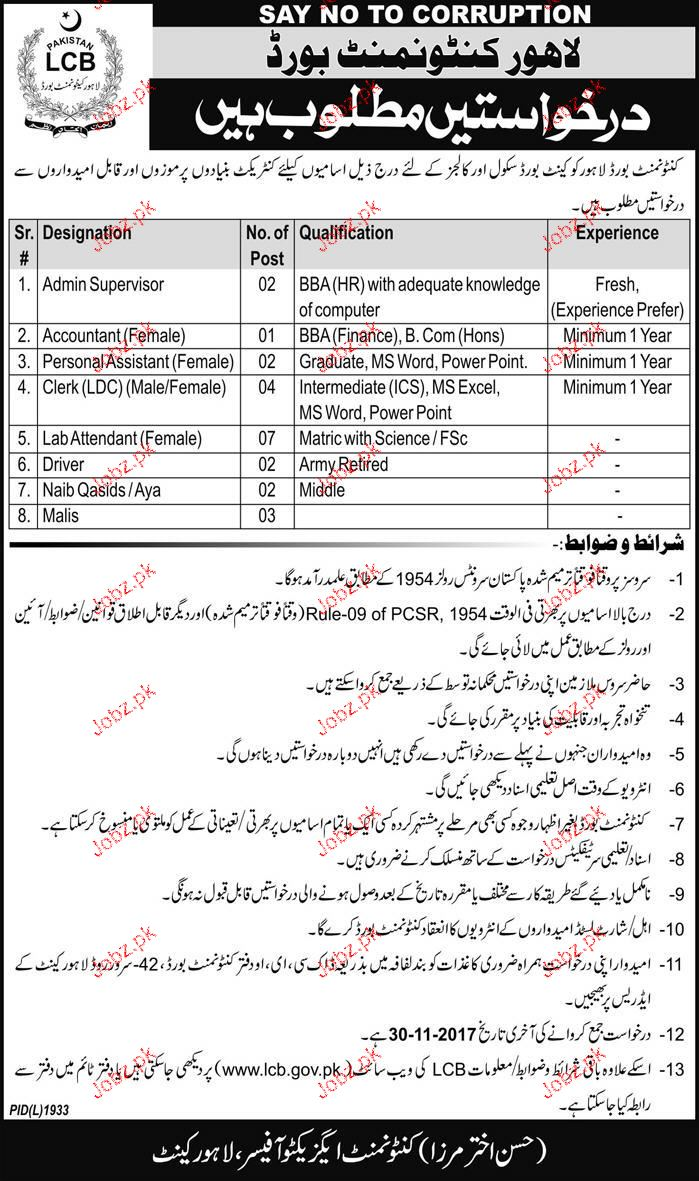 Lahore Cantonment Board Jobs Open