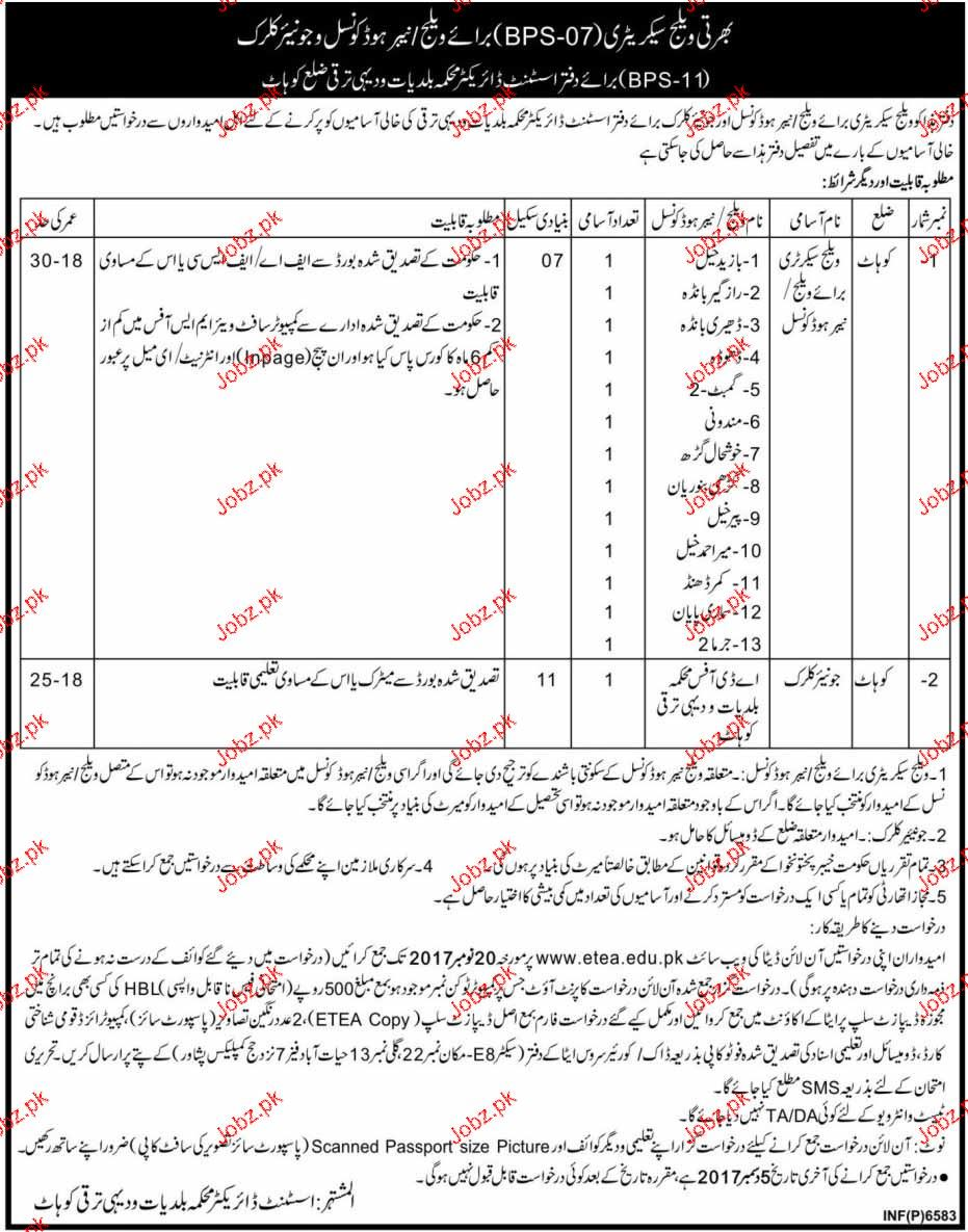 Local Government  and  HTP Department  in Kohat Jobs