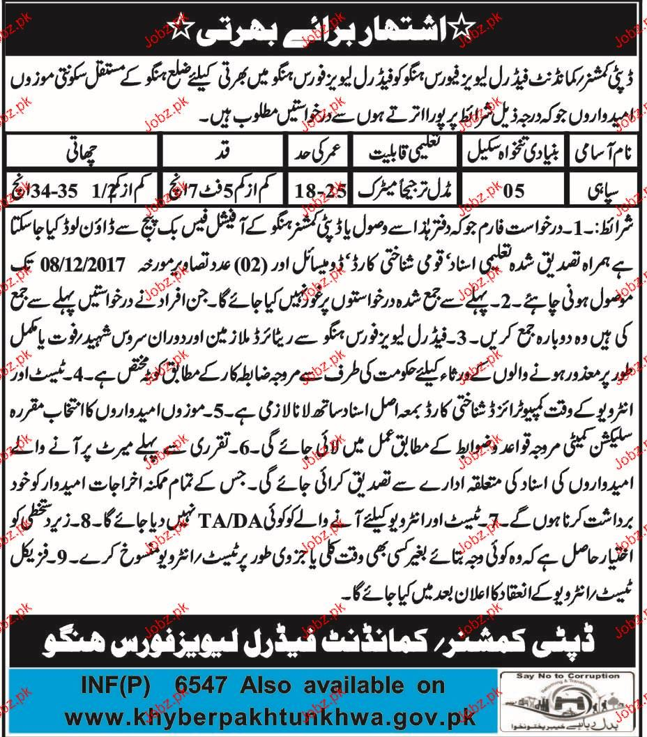 Recruitment in  Leavy Force District Hangu