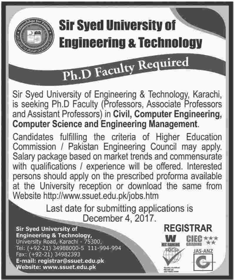 Sir Syed University of Engineering & Technology SSUET Jobs