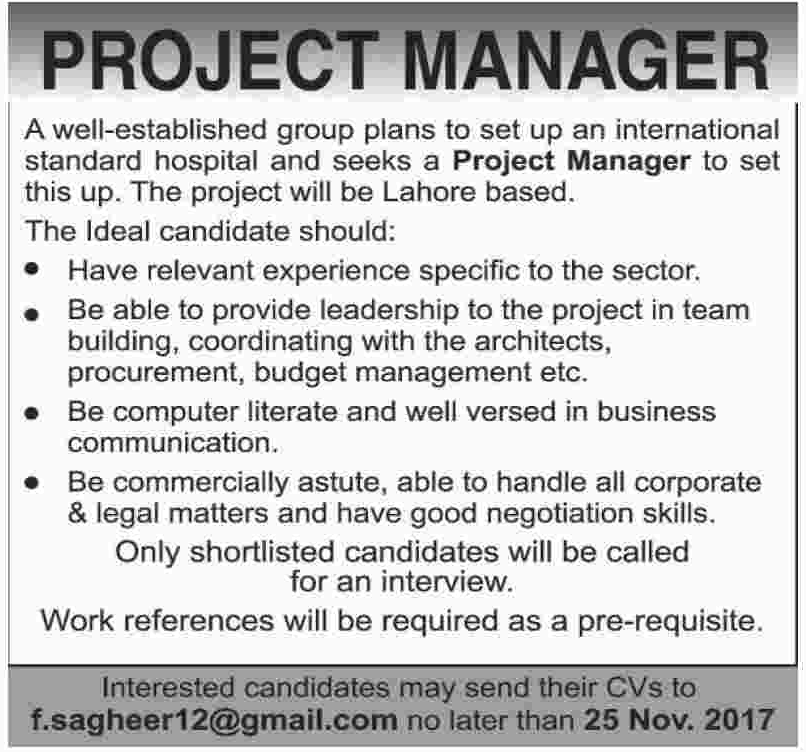 Project Manager Jobs in Lahore Hospital
