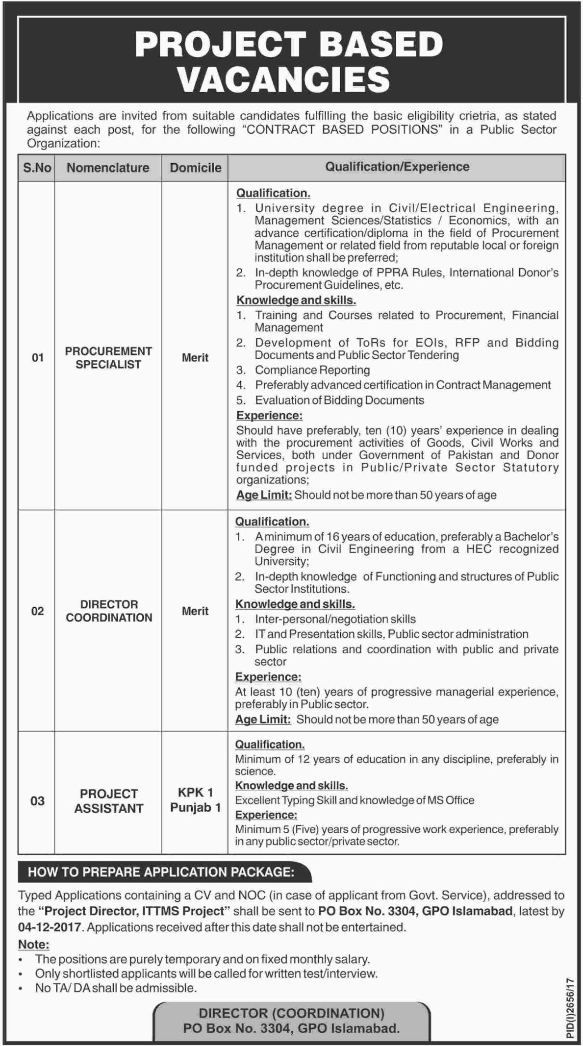 Public Sector Organization Islamabad Jobs 2017