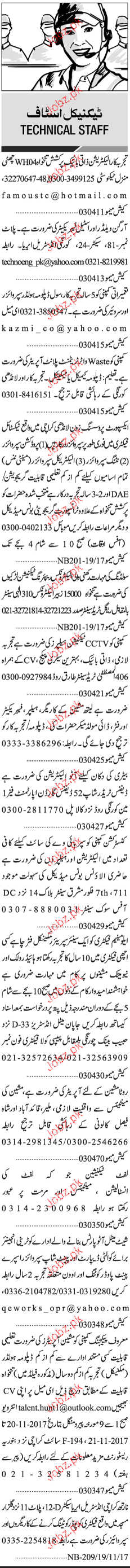 Sunday Jang Classified Technical Staff Job Opportunity