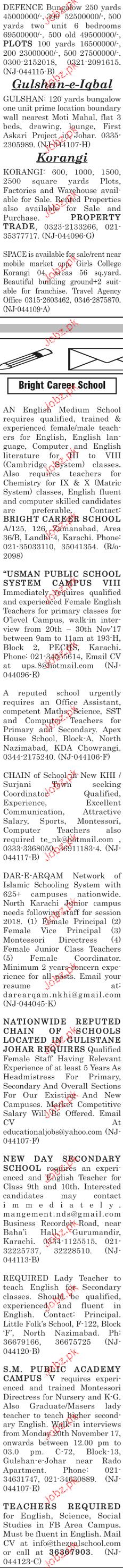 Male / Female Teachers, Office Assistants Job Opportunity