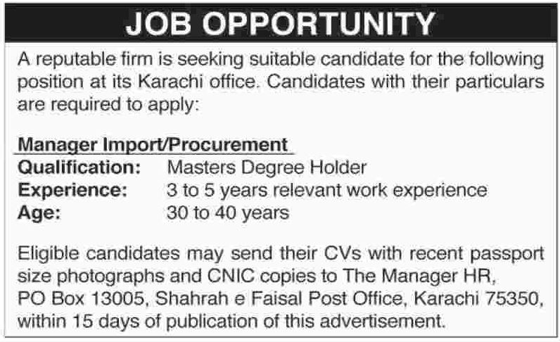 Manager Procurement Jobs in Karachi 2017