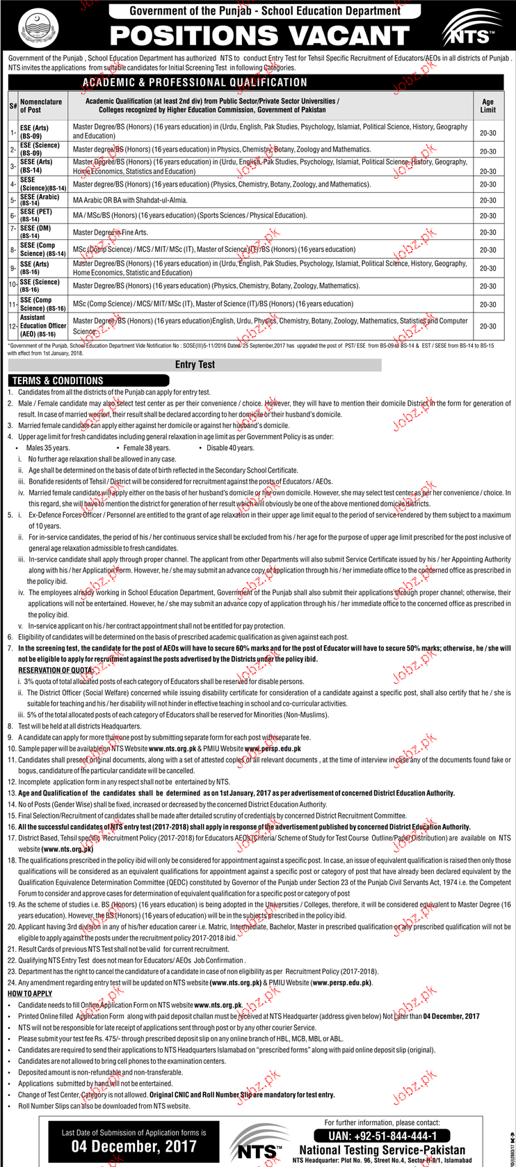 School Education and Literacy Department NTS Jobs