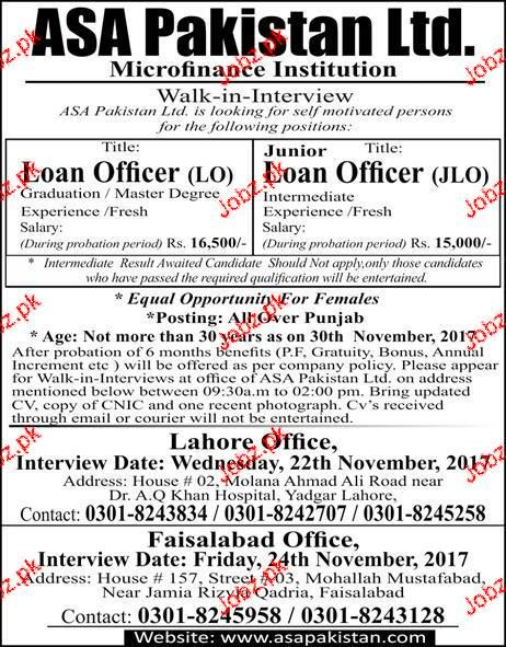 ASA Pakistan Limited Jobs