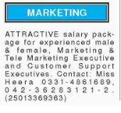 Marketing Staff Career Opportunity 2017