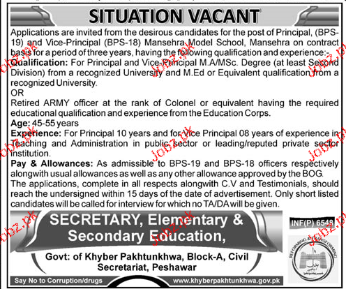 Khyber Pakhtunkhawa Secondary and Elementary Education Jobs