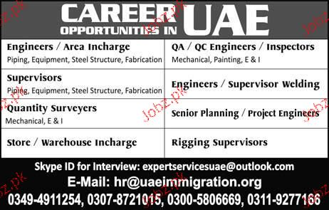 Engineers / Area Incharge, QC Engineers Job Opportunity