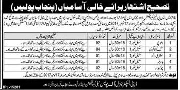 Punjab Police Required Labor Staff 2017