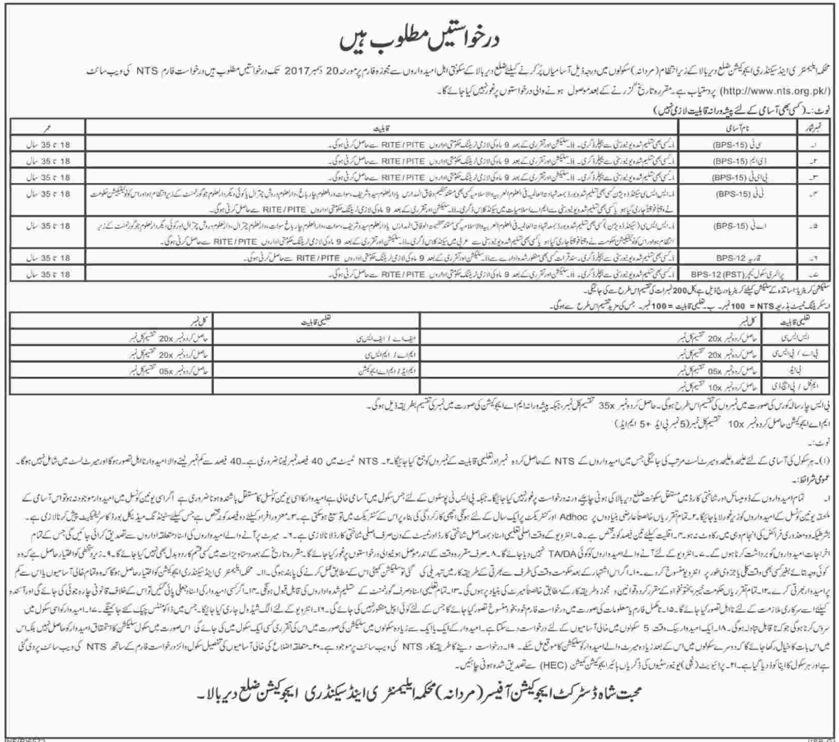 Elementary & Secondary Education Department Jobs 2017 NTS