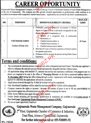 Gujranwala Waste Management Company Jobs