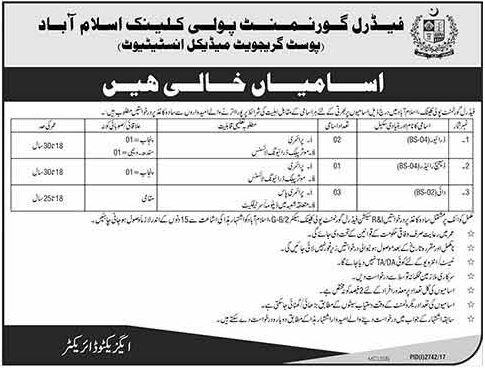 Poly Clinic Jobs 2017 FGPC Islamabad