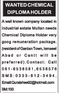 Chemical Diploma Holder Wanted For Multan