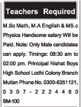 Nishat Boys High School Required Teaching Staff