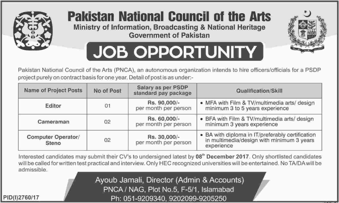 Pakistan National Council of The Arts Career Opportunities