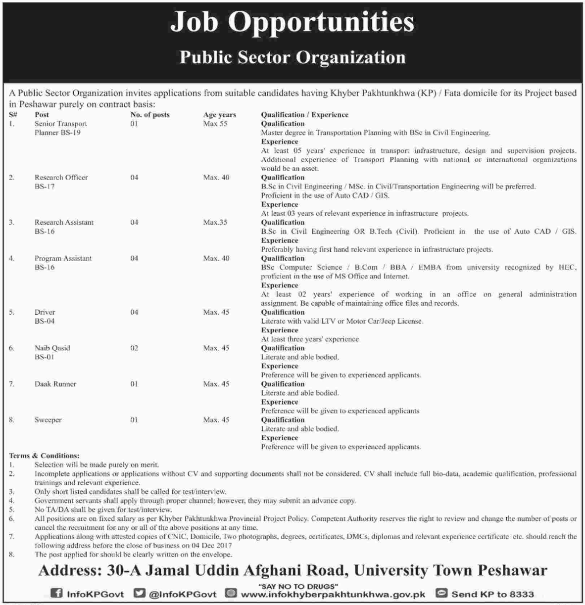 Planner, Research Officer/Associate, Assistant, Driver Jobs