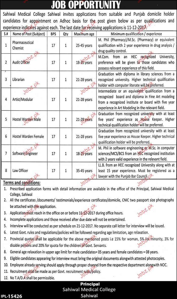 Sahiwal Medical College Sahiwal Jobs
