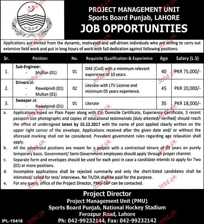 Project Management Unit, Sports Board Punjab Jobs