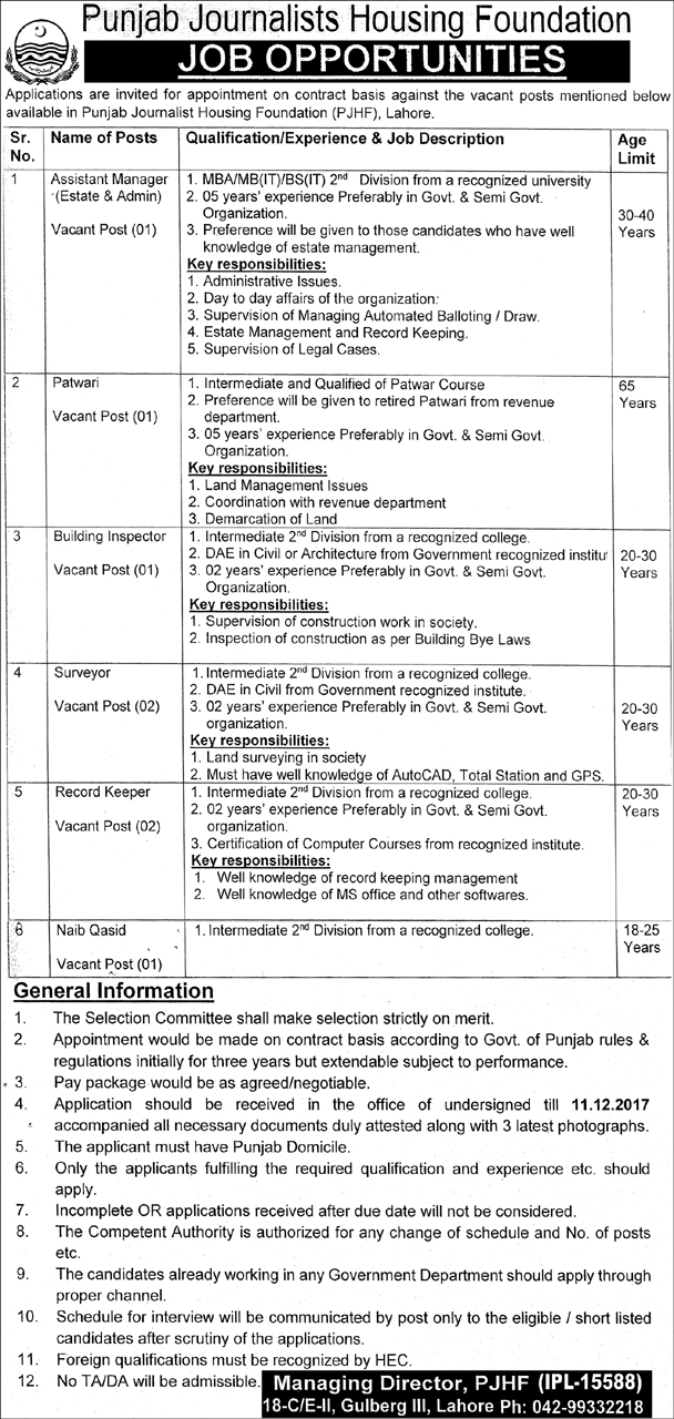 Punjab Journalist Housing Foundation Management Staff Jobs  Jobs
