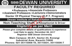 SBB DEwan University Jobs