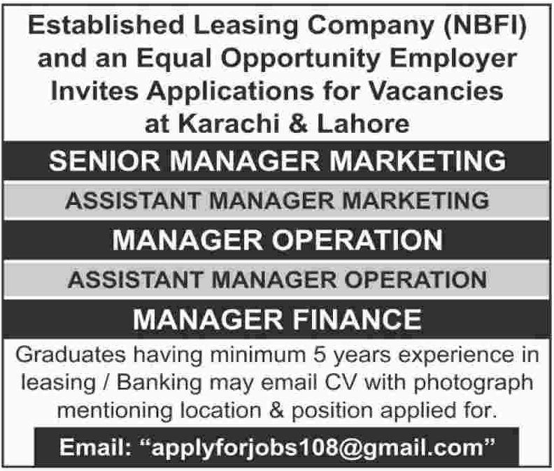 Management Staff required at Leasing Company