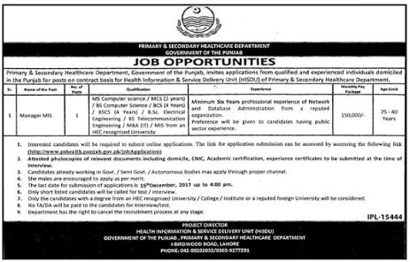 Primary & Secondary Healthcare Department Jobs Punjab 2017