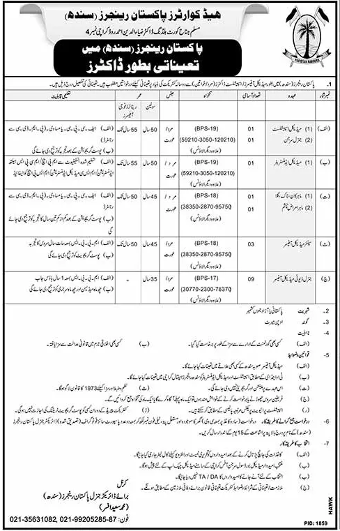 Pakistan Rangers Medical Staff Jobs 2017