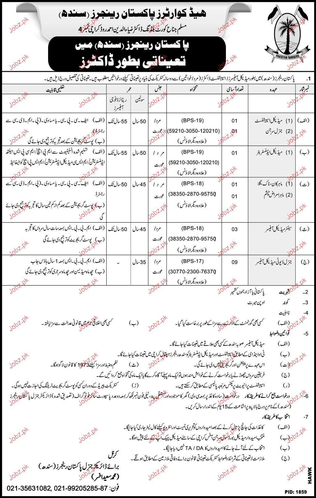 Headquarters Pakistan Rangers Sindh Jobs