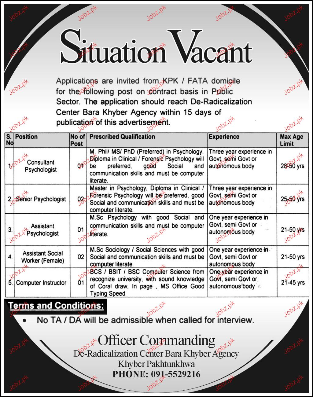De Radicalization Center Bara Khyber Agency Jobs