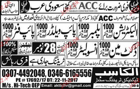 Electricians, Plumbers, Pipe Welders Job Opportunity