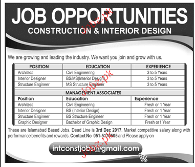 Architects Interior Designers Structure Engineers Wanted 2018 Jobs Pakistan