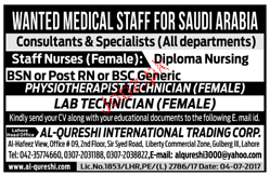 Marketing Manager, Physiotherapists Technicians Wanted