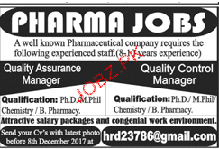 Quality Assurance Manager and Quality Control Manager Wanted