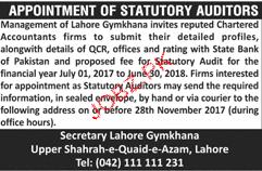 Statutory Auditors Job Opportunity
