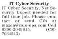 IT Cyber Security Career Opportunities