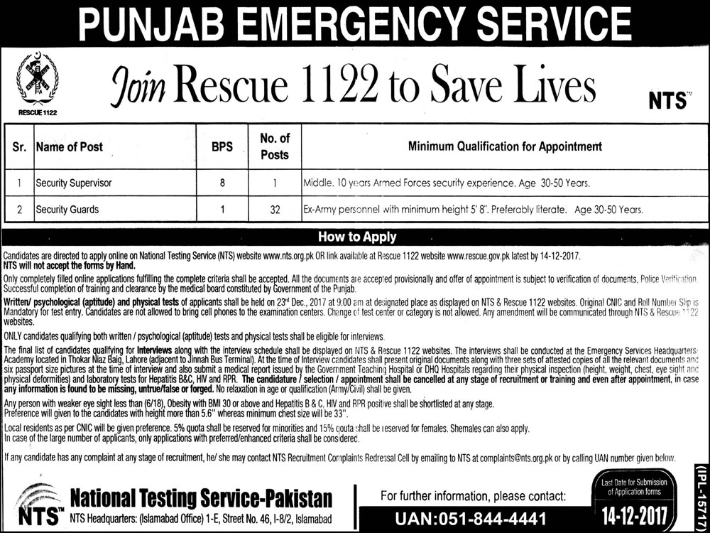 Punjab Emergency Service Need Security Staff Via NTS