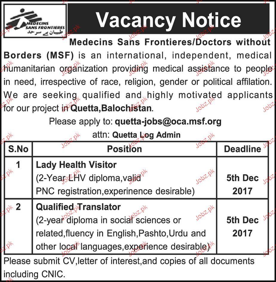 Lady Health Visitors, Qualified Translators Job Opportunity