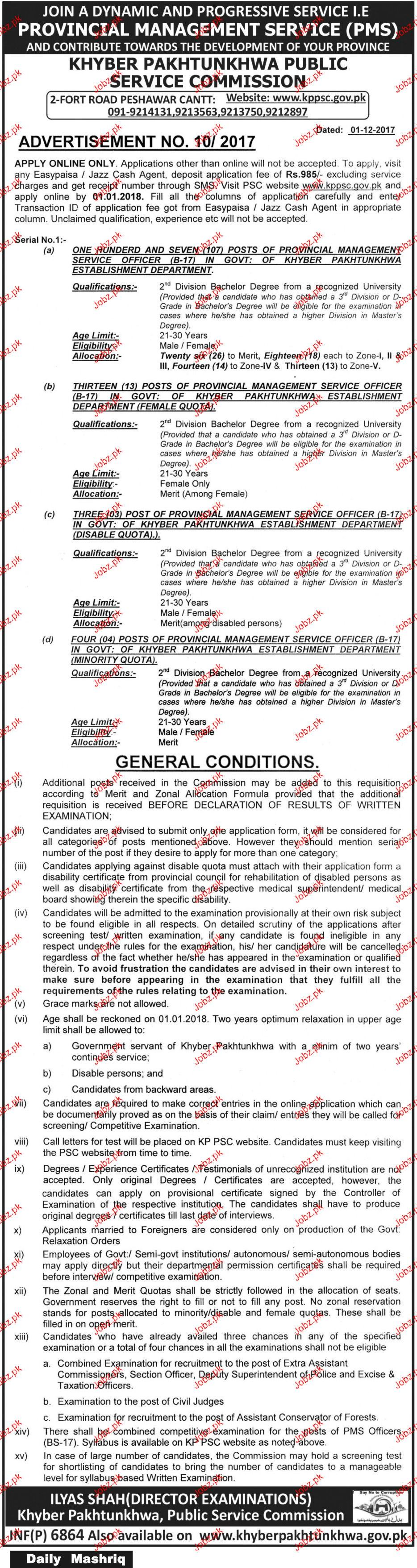 Khyber Pakhtunkhawa Public Service Commission Jobs Open